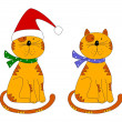 Cats. Christmas decorative elements — Stock Photo