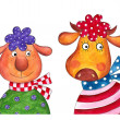 Sheep and cow. Cartoon characters — Stock Photo