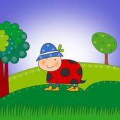 Marienkäfer im Wald. Cartoon-Figur. — Stockfoto
