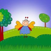 Farfalla nella foresta. personaggio dei cartoni animati. — Foto Stock