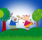 Rabbit and pig. Cartoon characters. — Stok fotoğraf