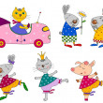 Set of animals. Cartoon characters — Stock Photo