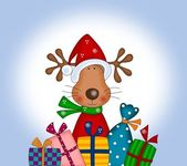 Reindeer with gift wraps — Stock Photo