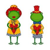 Couple of frogs. Cartoon characters — Stock Photo