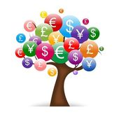International money tree isolated on White background — Stock Photo