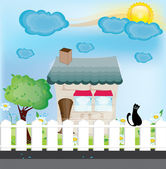 Cat on a fence and a beautiful home — Stock Vector