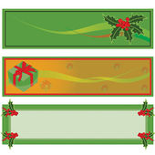 Set of three horizontal Christmas banners for Christmas with gift boxes.Isolated on waite background.ai file available — Stock Vector