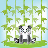 Very cute Panda and green bamboo — Vettoriale Stock