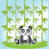 非常にかわいいパンダと緑の竹 — ストックベクタ