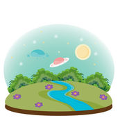 UFO vector illustration for your postcards — Stock Vector