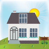 Small rural house being sale .house For sale sign in front of house. — Stock Vector