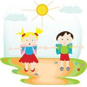 学校の友達、幸せな子供たちと学校図に戻る — ストックベクタ