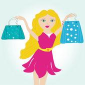 Satınalma çanta ile zarif kadın — Stok Vektör