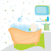 Beautiful bathroom with accessories and baby — Stock Vector