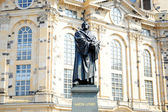 Statue of Martin Luther in front of the lutheran church in Dresden — Stock Photo