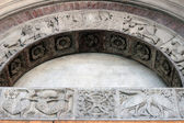 Detail of the romanesque cathedral in Modena, Italy — Stock Photo