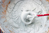 Tile adhesive mixing — Stock Photo