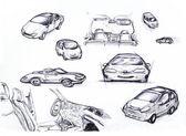 Sketch Car set — Stock Photo