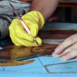 Painting stained glass window — Stock Photo