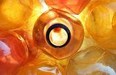 Garrafas de plástico laranja — Foto Stock