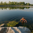 Royalty-Free Stock Photo: Swiming in a river