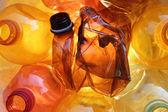 Orange plastic bottles — Stock Photo
