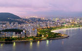 Night view of Flamengo beach and district in Rio de Janeiro — Stock Photo