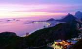 Night view of Copacabana beach in Rio de Janeiro — Stock Photo
