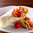 Chicken fajita tortilla wrap sandwich - Stock Photo