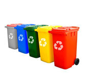 Colorful Recycle Bins Isolated — Photo