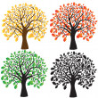 Vector de stock : Four oak with yellow, red, green foliage. Ebony.