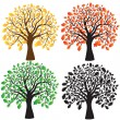Four oak with yellow, red, green foliage. Ebony. — Stockvector