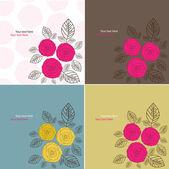Tarjetas de flores. conjunto — Vector de stock