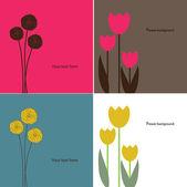 花カード。セット — ストックベクタ
