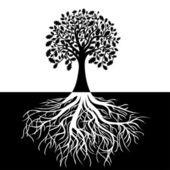 árvore com raízes em fundo preto e branco — Vetorial Stock