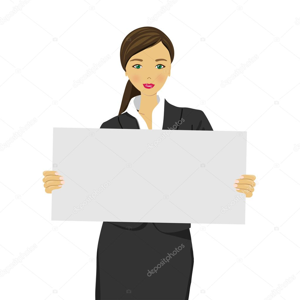 Portrait of young woman with blank white board, vector — Stock Vector #11145951