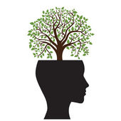 Tree silhouette of a man's head — Stock Vector