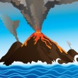 Volcano in the ocean — Stock Vector