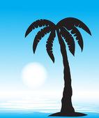 有棕榈树的热带海滩。矢量, — 图库矢量图片