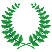 Green laurel wreath isolated, vector — Stock Vector