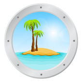 Porthole overlooking the sea and tropical island — Vector de stock