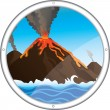 Stock Vector: View of the volcano from the porthole