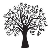 Set of money trees isolated on White background. — Vecteur