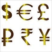 Pound dollar euro ruble yen yuan — Stock Vector