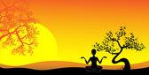 Yoga, vector image — Stock Vector