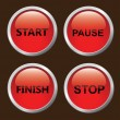 Set of red 3D button. — Stock Vector