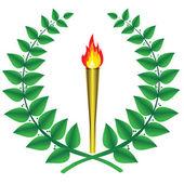 Couronne de laurier et de la flamme olympique — Vecteur
