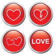 Set of buttons on the of love — Stock Vector