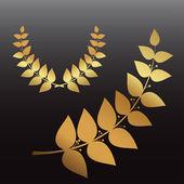 Golden wreath and branch — Stock Vector