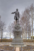 Monument to Peter the Great on the waterfront of the Onega lake. Petrozavodsk, Karelia, Russia. — Stock Photo